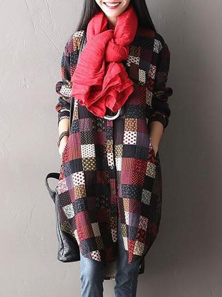Checkered/Plaid Printed Long Sleeve Casual Shift Linen Dress
