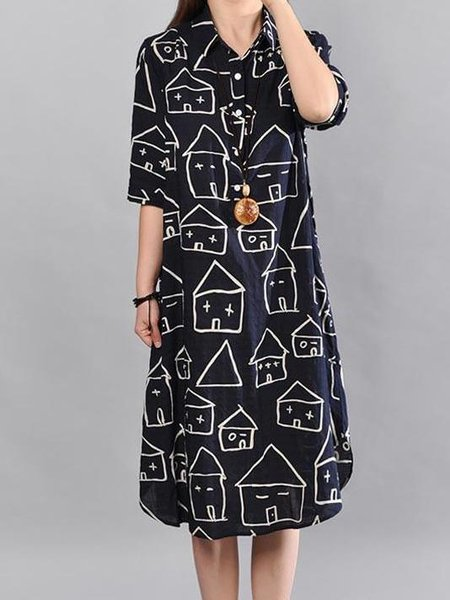 Casual High Low Printed Shirt Collar Half Sleeve Linen Dress