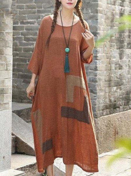Cotton Casual 3/4 Sleeve Shift Crew Neck Linen Dress