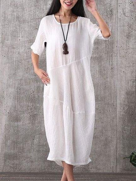 White Linen Crew Neck Crinkled Casual Linen Dress