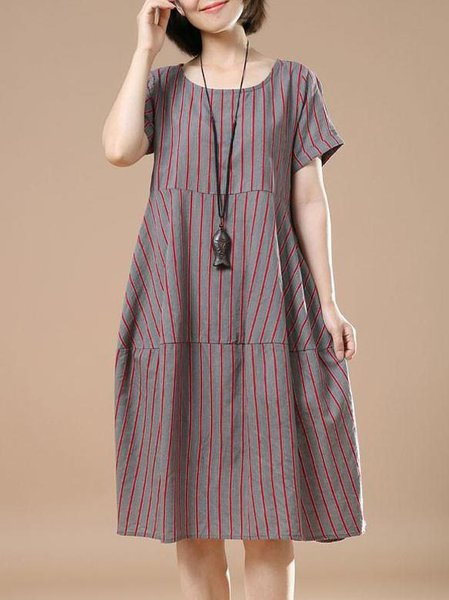 A-line Cotton Casual Crew Neck Short Sleeve Linen Dress