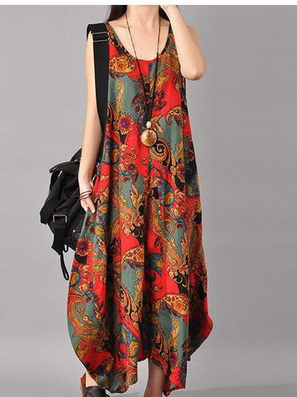 Multicolor Asymmetrical Sleeveless Printed Linen Dress