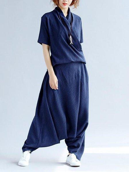 Plain Short Sleeve Casual Linen Jumpsuit