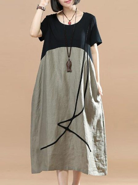 Gray Crew Neck Short Sleeve Linen Dress