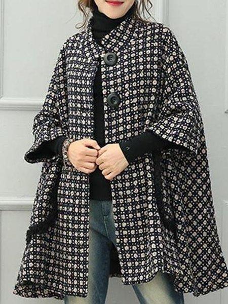 Black Casual Wool Blend Geometric Linen Outerwear