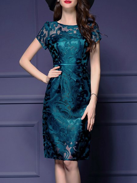 Dark Blue See-through Look Short Sleeve Sheath Midi Dress