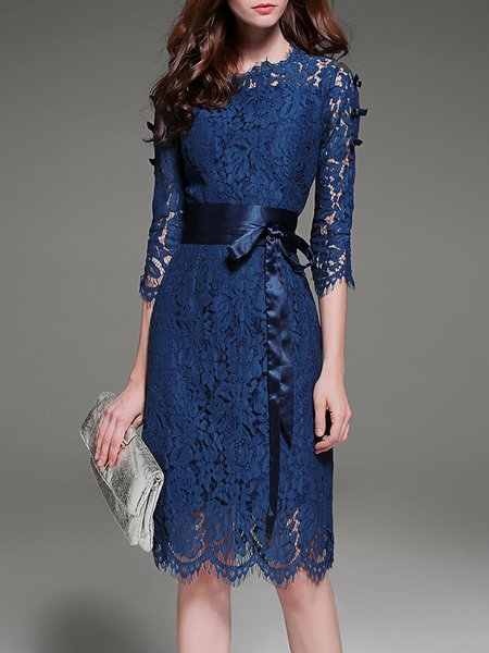 Navy Blue Elegant A-line Lace Crew Neck Midi Dress With Belt