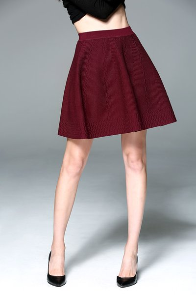 Burgundy Simple A-line Plain Nylon Mini Skirt