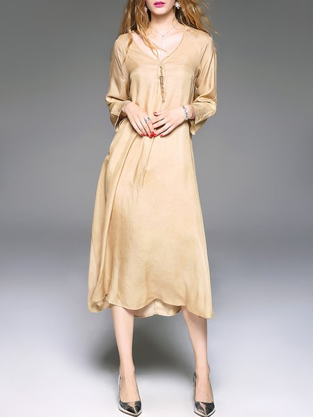 Asymmetrical Long Sleeve Casual Plain Cupro Midi Dress