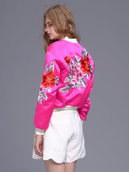 Fuchsia Cotton-blend  Embroidered Pockets Bomber Jacket