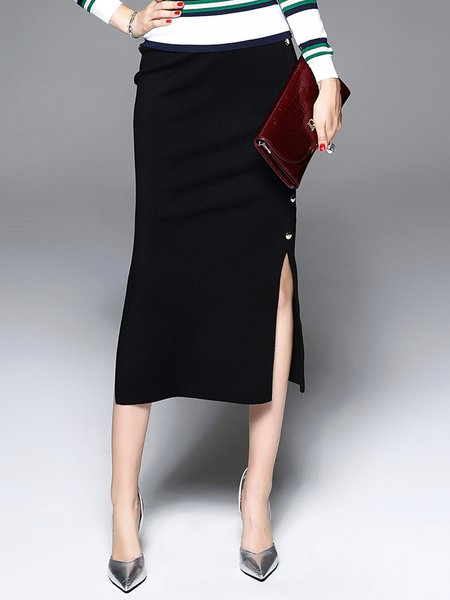 Black Sexy Plain Slit Sheath Midi Skirt