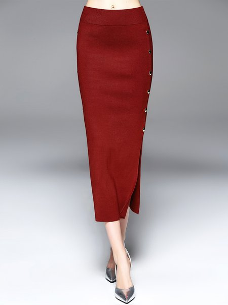 Red Sexy Plain Sheath Slit Midi Skirt