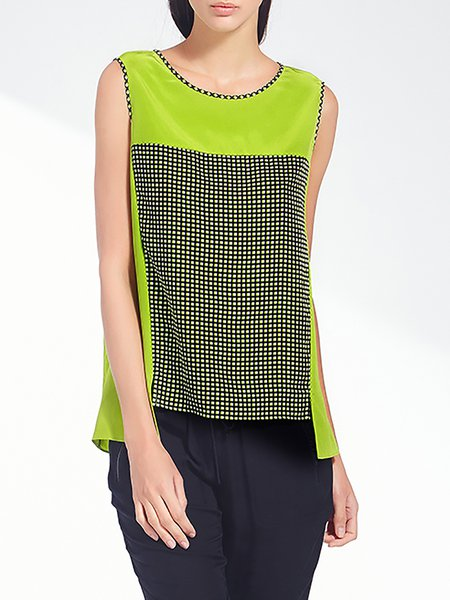 Green Color-block Sleeveless Silk H-line Silk Blouse