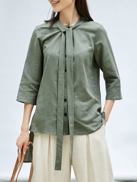 Olive Green Solid 3/4 Sleeve High Low Linen Tops