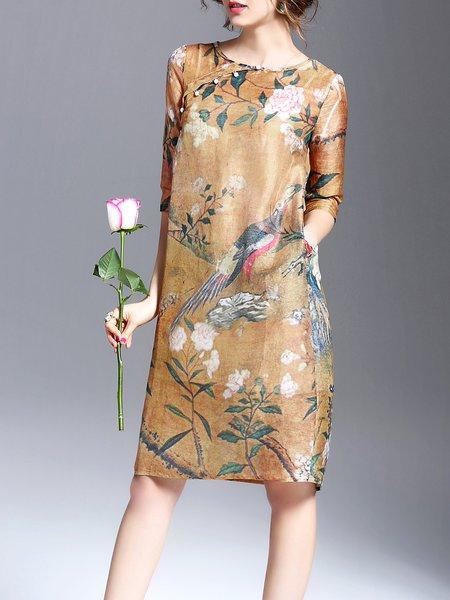 Half Sleeve Vintage Crew Neck Two Piece Midi Dress