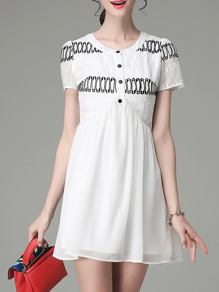 White Simple Crew Neck Plain Embroidered Mini Dress