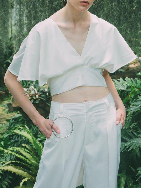 White Plain Reversible Satin Sexy Cropped Top