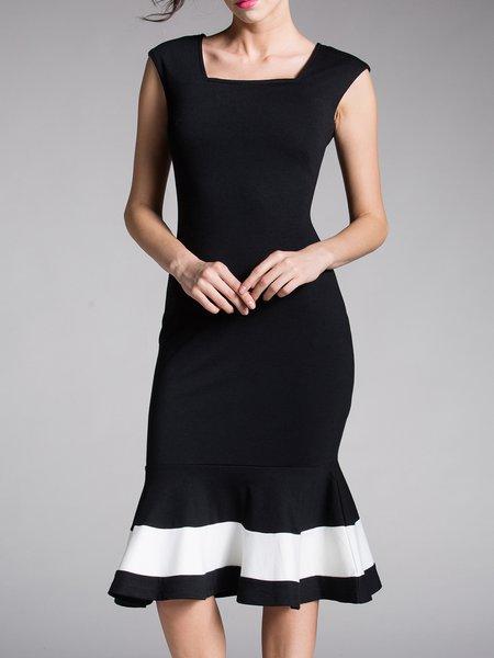 Sheath Elegant Square Neck Sleeveless Flounce Evening Dress