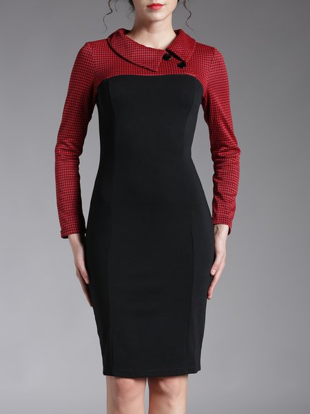 Paneled Long Sleeve Elegant Sheath Midi Dress