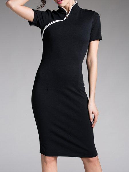 Sheath Solid Shorts Sleeve Elegant Midi Dress