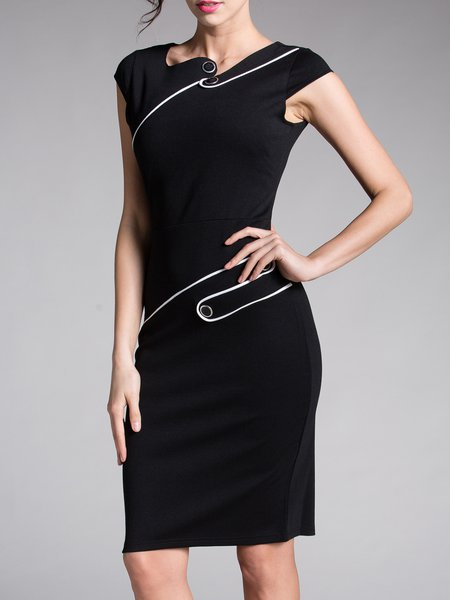Elegant Sleeveless Buttoned Sheath Solid Evening Dress