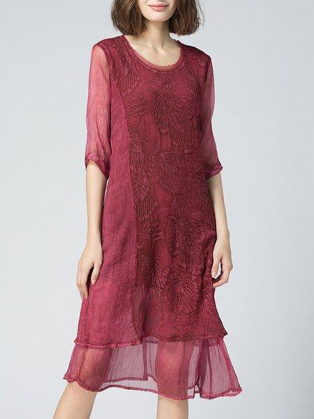 Crimson Crew Neck Half Sleeve Embroidered Midi Dress