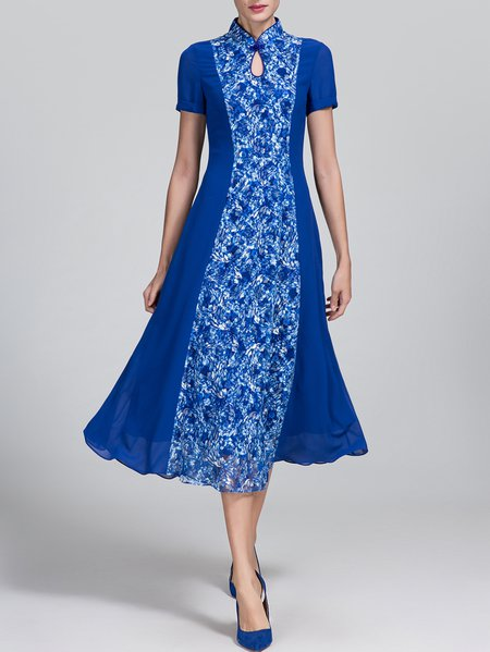 Blue A-line Floral Short Sleeve Midi Dress
