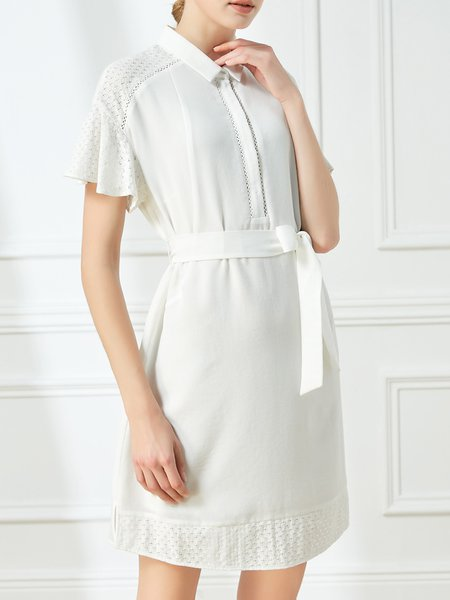 Frill Sleeve A-line Casual Shirt Collar Midi Dress