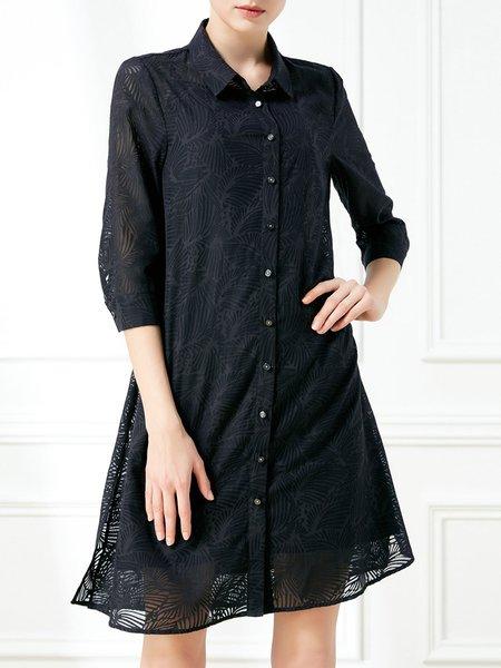 Half Sleeve Jacquard Casual Midi Dress