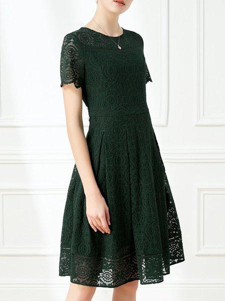 Short Sleeve Elegant Crew Neck Guipure Lace Midi Dress