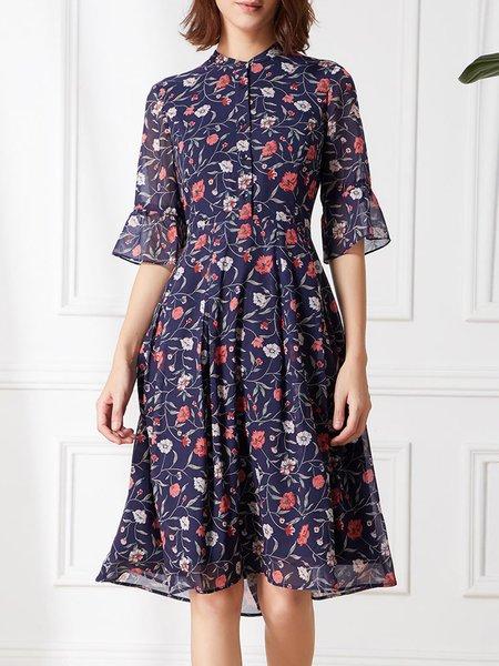 Dark Blue Casual Stand Collar Midi Dress