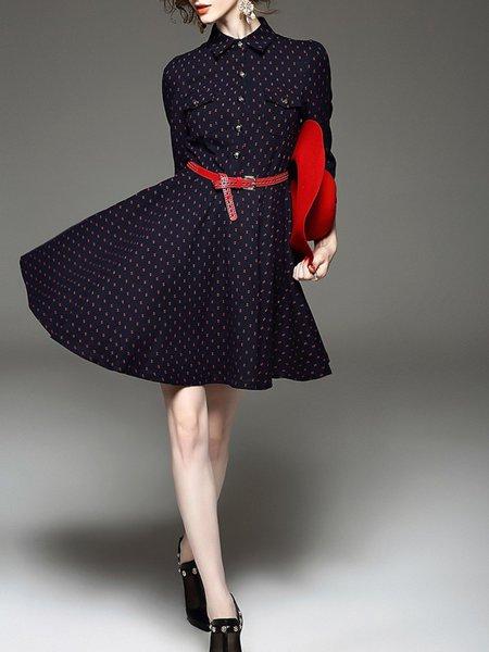 Red V Neck 3/4 Sleeve Polka Dots Printed Mini Dress
