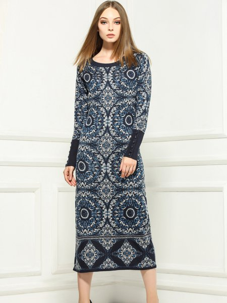 Purplish Blue Knitted Casual Shift Crew Neck Midi Dress