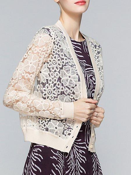 Apricot Casual Guipure Lace Cotton Coat