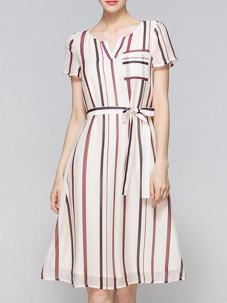 A-line Short Sleeve Stripes Midi Dress