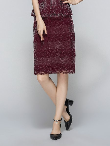 Crocheted H-line Polyester Elegant Midi Skirt