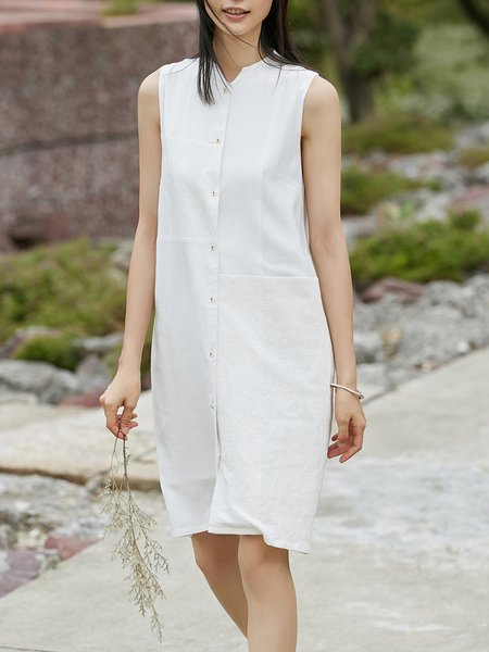 White Solid Simple H-line Midi Dress
