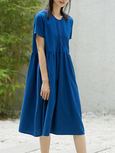 Short Sleeve Girly Solid Midi Dress