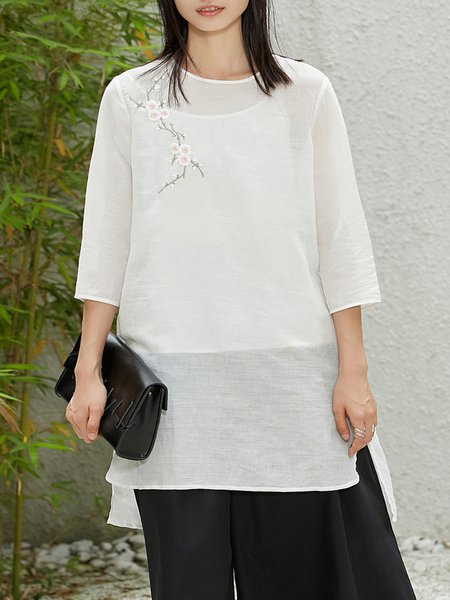 Two Piece Simple Embroidered Top