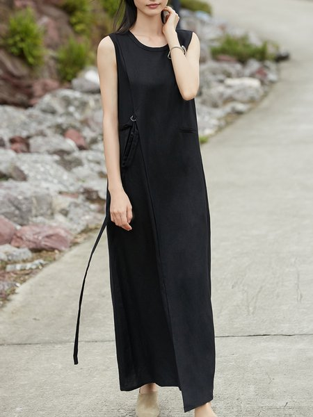 Black Sleeveless Linen Crew Neck H-line Midi Dress