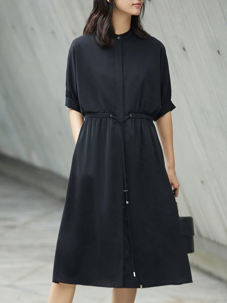 Solid A-line Simple Midi Dress