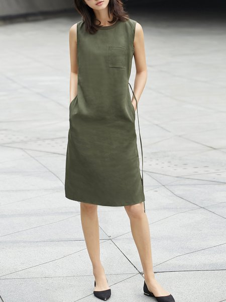 A-line Solid  Sleeveless Midi Dress