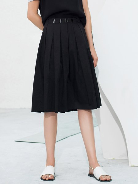 ST.MARTIN Embellished Black Pleated A-line Cotton Casual Midi Dress