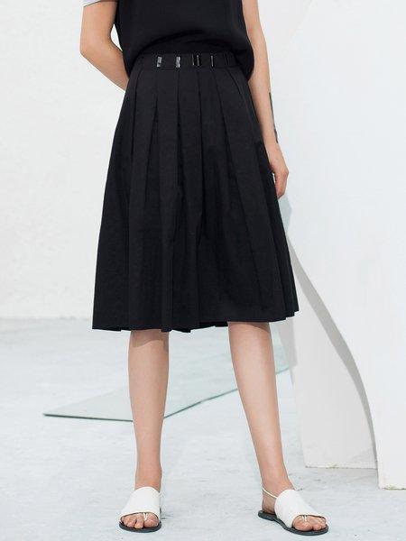 Black Pleated Casual Midi Skirt
