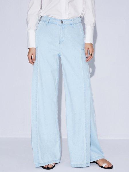 ST.MARTIN Light Blue Casual Asymmetric Wide Leg Pants