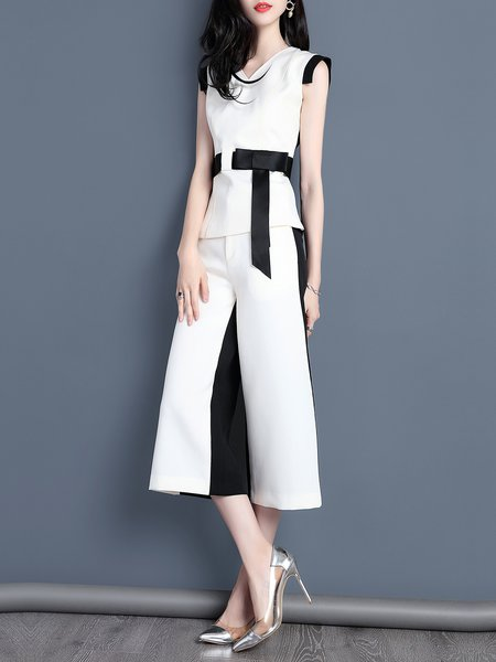 Two Piece White-black Sleeveless Color-block H-line Jumpsuit
