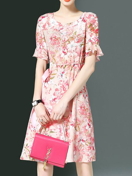 Crew Neck A-line Floral Frill Sleeve Girly Midi Dress