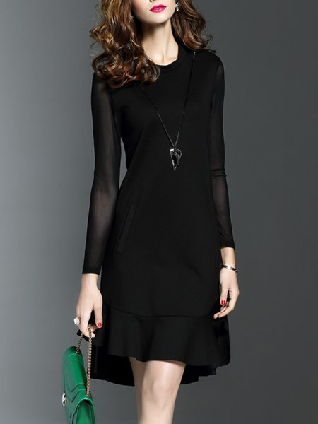 Black See-through Look A-line Short Sleeve Polyester Midi Dress