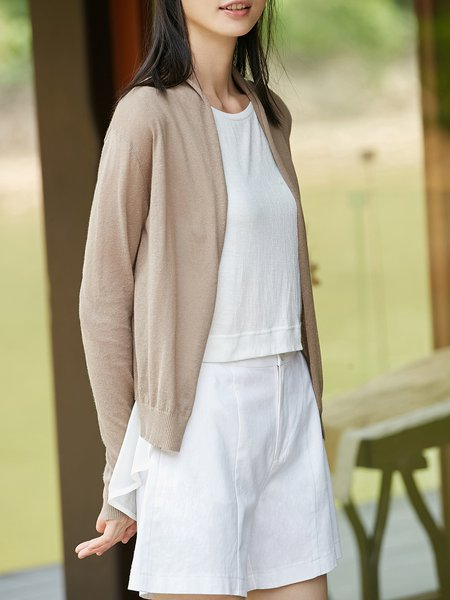 Knitted Cotton Long Sleeve Simple Cardigan