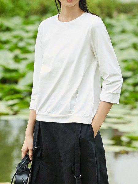 Solid Cotton-blend Simple Crew Neck Top